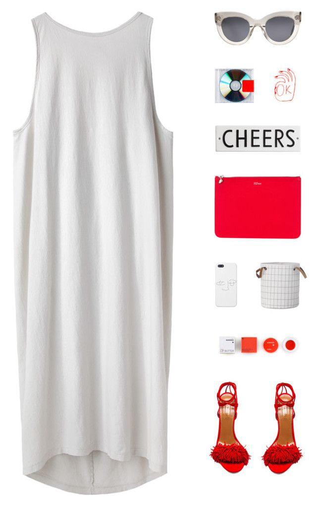 """I Love Kanye"" by virty8 ❤ liked on Polyvore featuring BLACK CRANE, Aquazzura, Alexander McQueen, CÉLINE, Korres, Rosanna, red, dress, grey and virtyfashion"