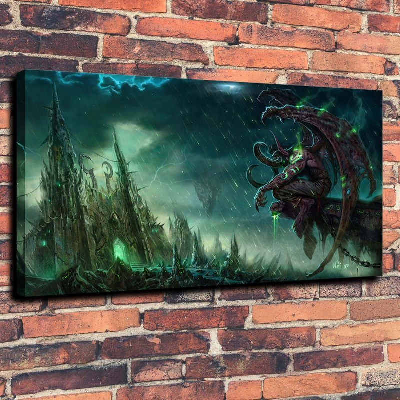 Buy Illidan WoW Print Oil Painting on Canvas Wall Art (No ...