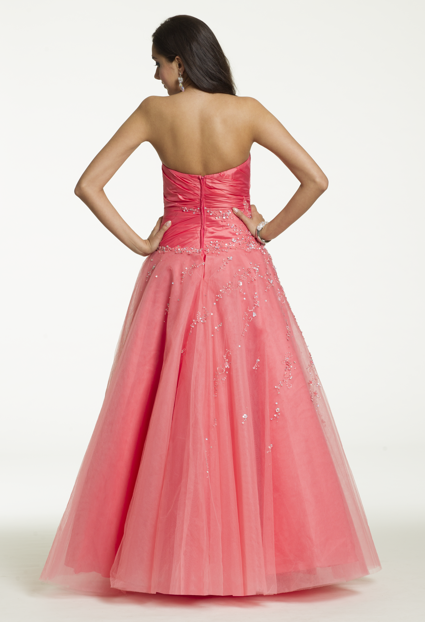 Long Taffeta Tulle Pink Ballgown Dress for prom, sweet sixteen party ...