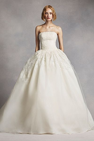 White by Vera Wang Twill Gazar Lace Wedding Dress | Traditional ...