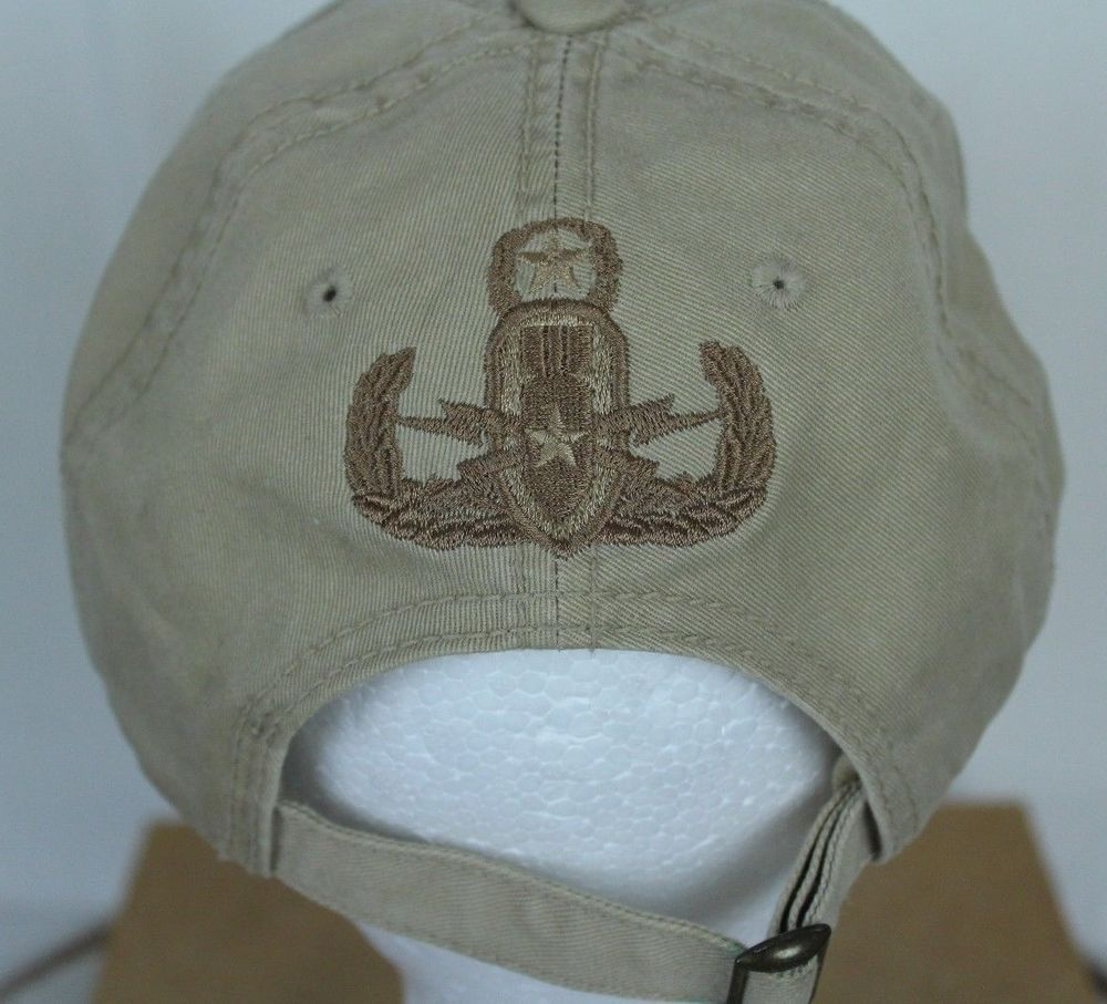 tan fitted hat with patch