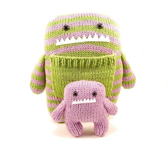 knitting pattern for a momma and baby monster