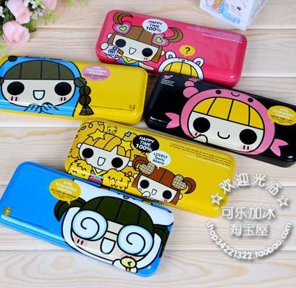 Korea stationery box constellation girl of the tin pencil case cartoon chalybeate pencil box papier  2pcs/set-inPencil Cases from Office & S...