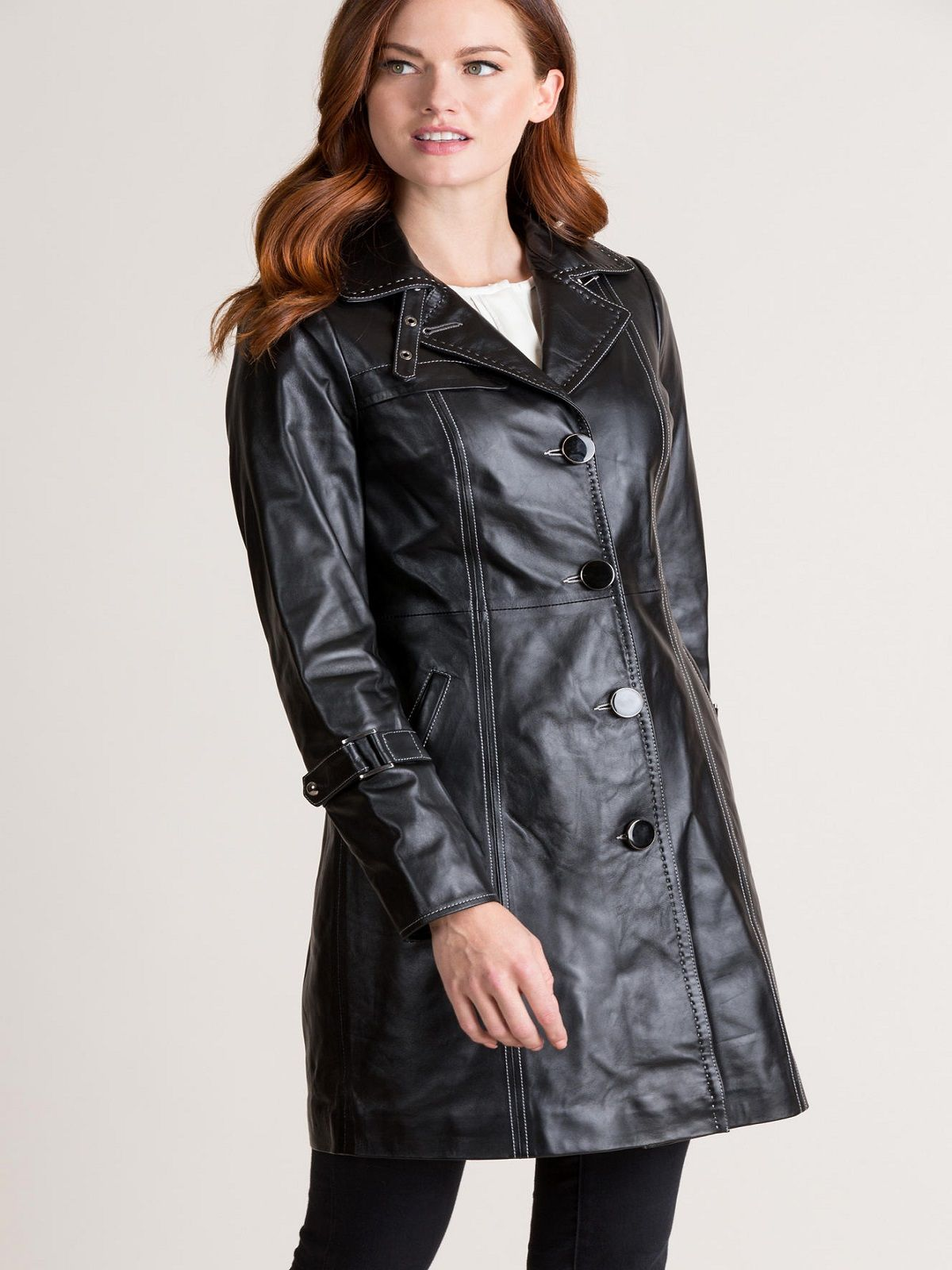 Women Pitch Black Leather Trench Jackets for women