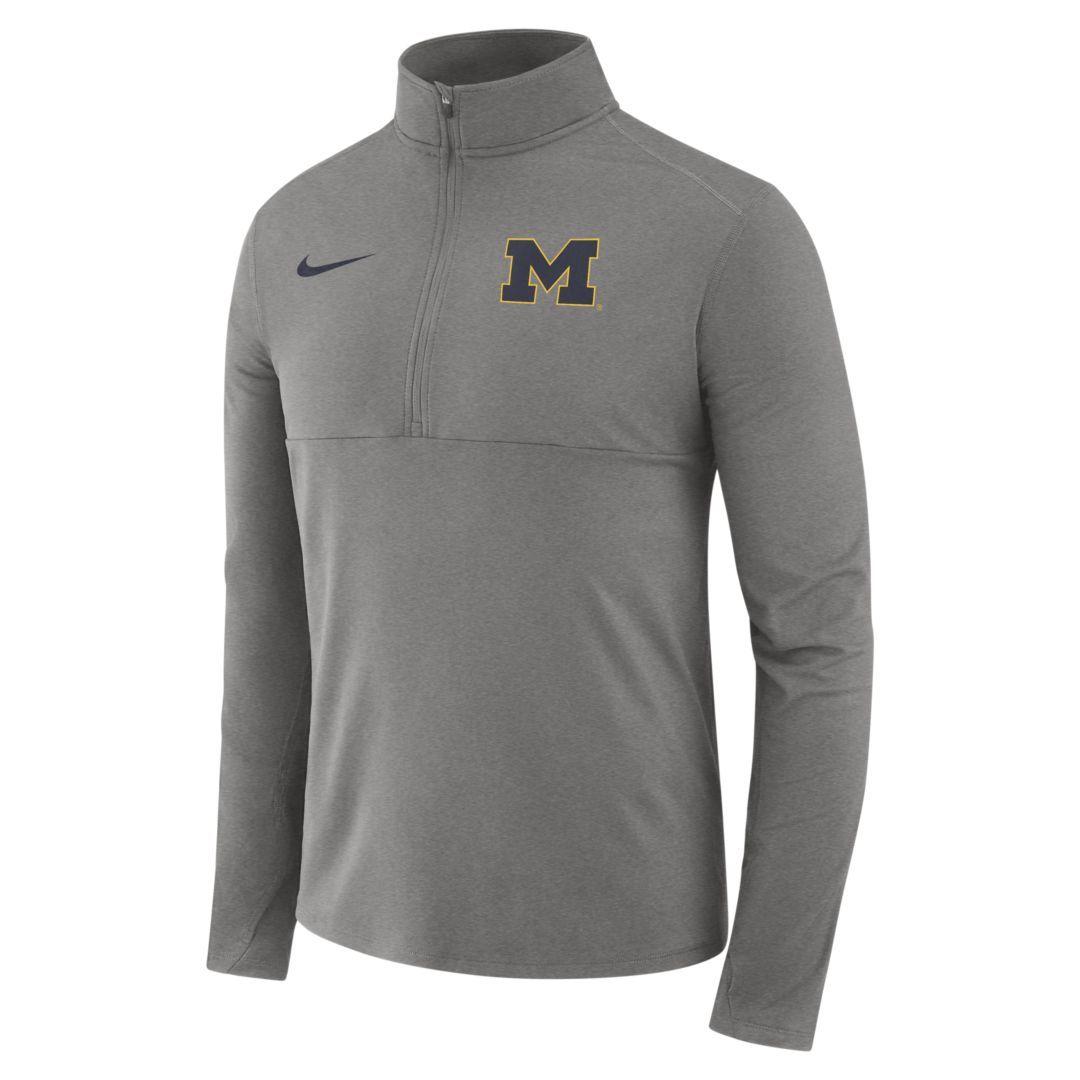 ffce54ca1 Nike College Therma (Michigan) Men's Long-Sleeve 1/2-Zip Top Size 2XL (Dark  Grey Heather)
