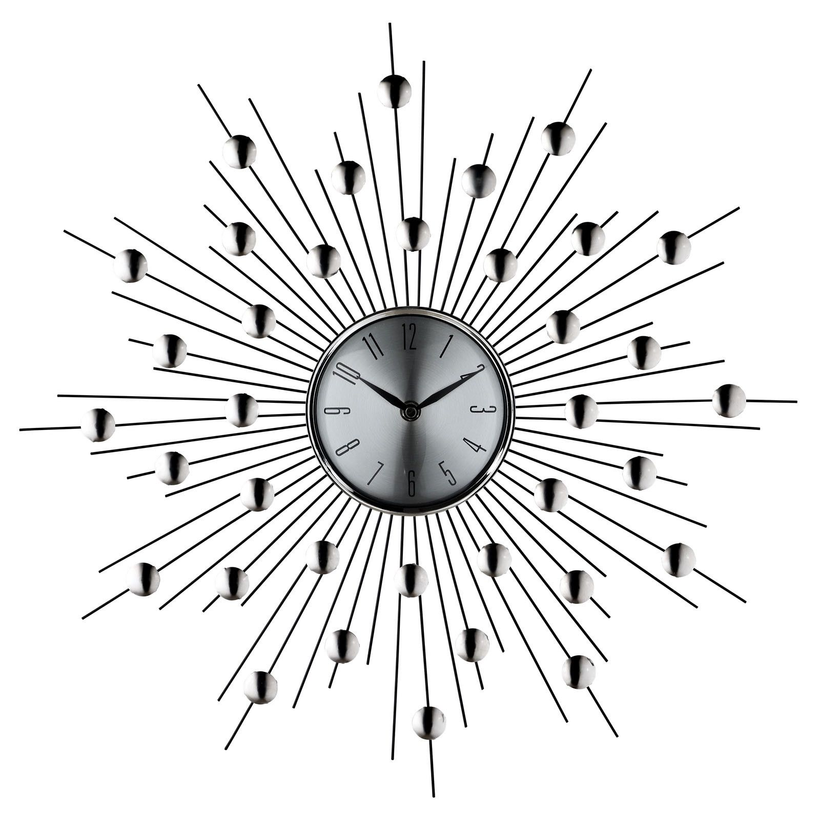 Starburst Wall Clock in Silver Black