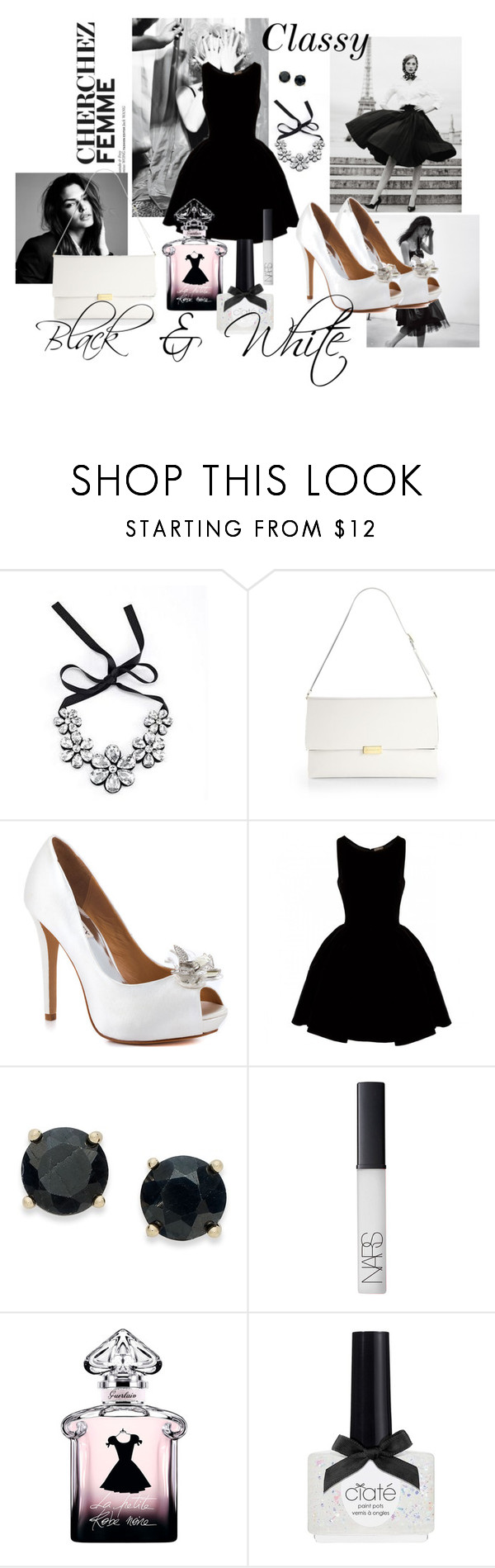 """Black & White Fashion"" by fabulousbyangelika ❤ liked on Polyvore featuring Moonbasa, STELLA McCARTNEY, Badgley Mischka, Alaïa, Victoria Townsend, NARS Cosmetics, Guerlain, Ciaté and topic"