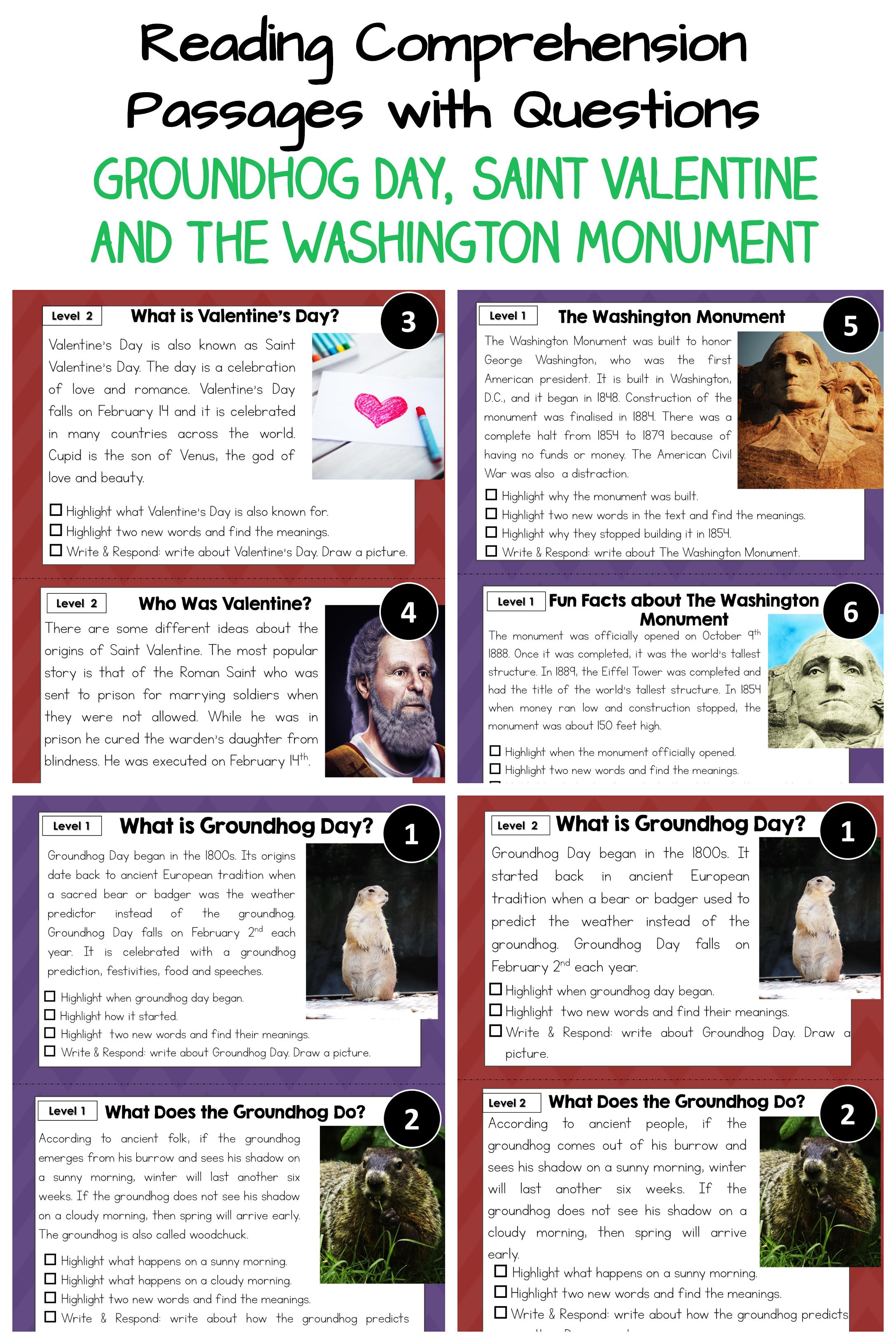 Groundhog Day Valentine And Washington Monument