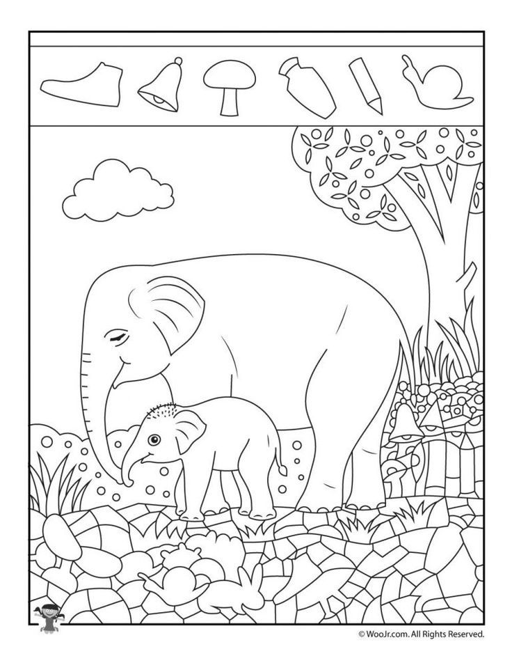 Elephant Easy Hidden Pictures Printable | Learning - Free