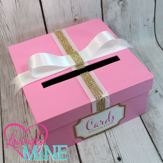 card holder box with sign in pink gold white gift money box for any event bridal shower birt