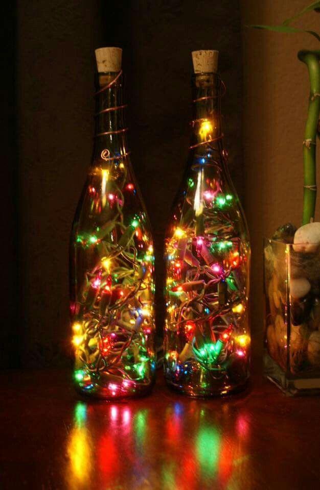 Wine bottles with lights | Christmas | Pinterest | Christmas, Bottle ...