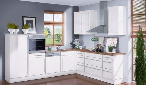 Kleine küche mit elektrogeräten  Weiße Küche mit Massivholz Arbeitsplatte | Küche | Pinterest ...