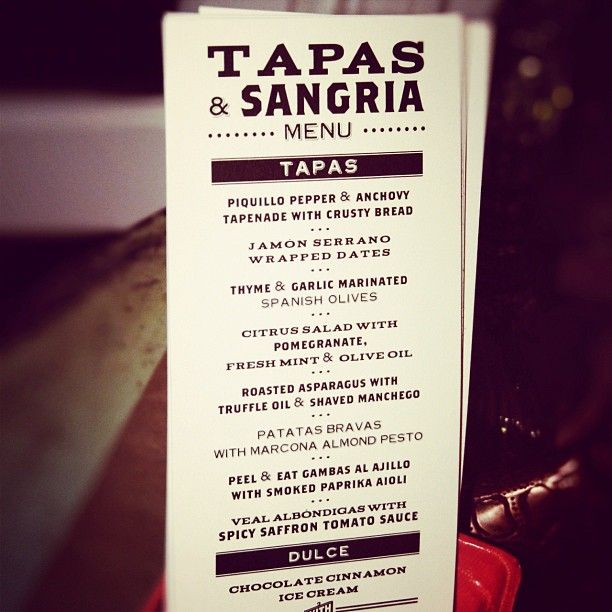 Excellent menu for a tapas sangria party party decor for Tapas menu template