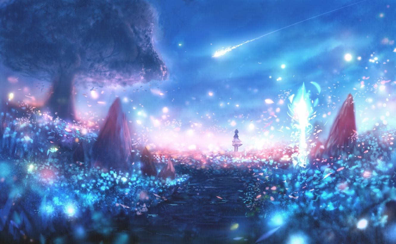 Anime Landscape Particles Scenic Polychromatic Lights Anime Art Beautiful Anime Scenery Anime Galaxy