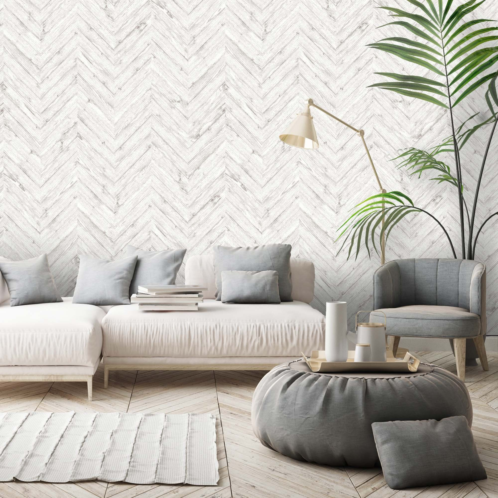 Painted White Chevron Wallpaper (With images) White