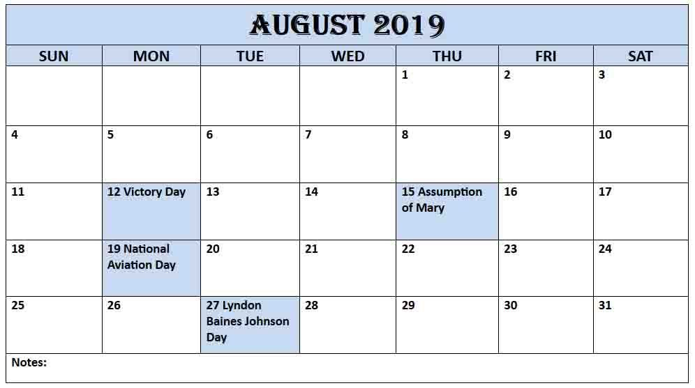 Free Printable August 2019 Calendar Template Blank With Notes