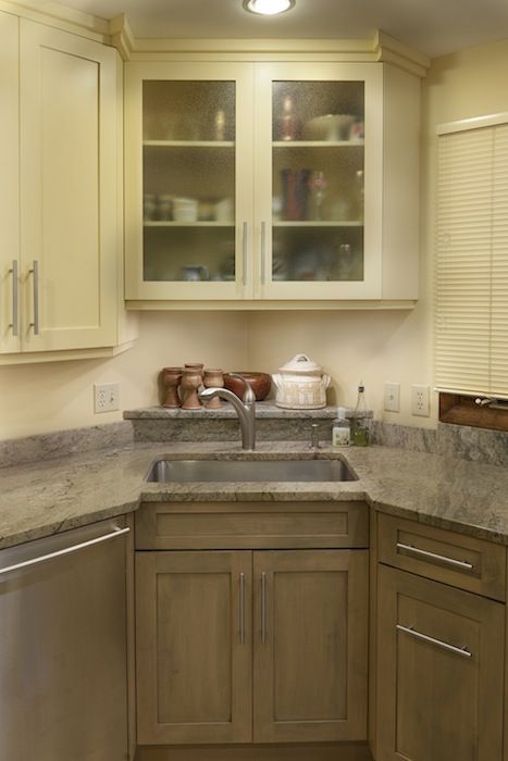 Replaced 70u2032 Style Laminate Kitchen That Had Metal Extrusion Pulls With New  Mushroom Colored Base Cabinets And Cornsilk Colored Upper And Tall Cabiu2026