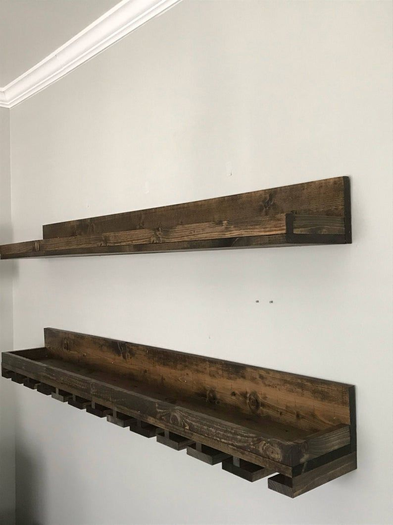 60 Long Rustic Wood Wine Rack Wall Mounted Shelf Etsy Wine Rack Shelf Wine Rack Wall Wood Wine Racks