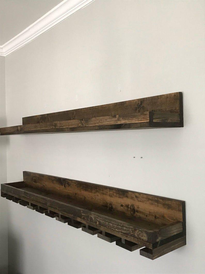60 Long Rustic Wood Wine Rack Wall Mounted Shelf Etsy Wine Rack Shelf Wine Rack Wall Wood Wine Racks