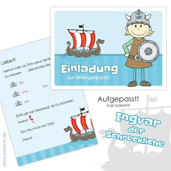 Einladungskarten Zum Kindergeburtstag Mit Motiv Wikinger