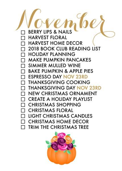 November Seasonal Living List | Holiday Ideas | Pinterest