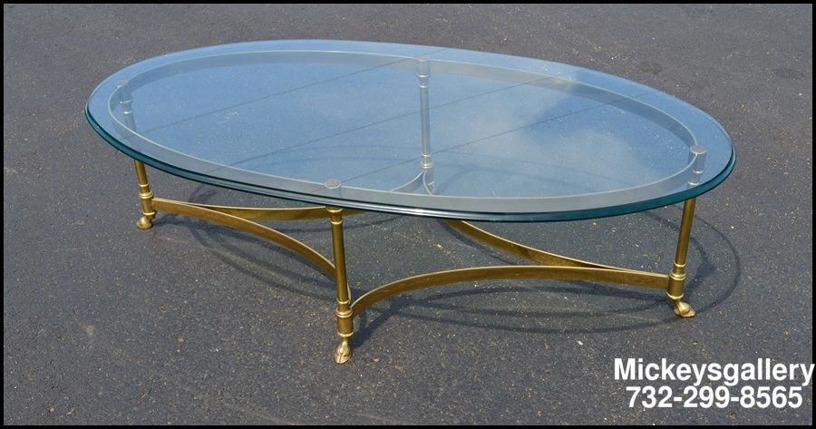 labarge oval brass & glass rams hoof cocktail coffee table c1950