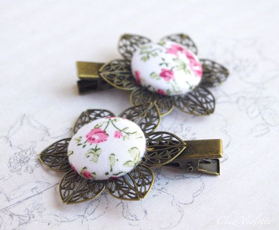 Flower hair clips, Pink hair clip, floral hair pin, button hair pins , romantic hairstyle