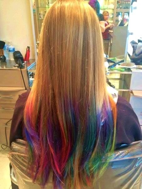 result rainbow hair tips