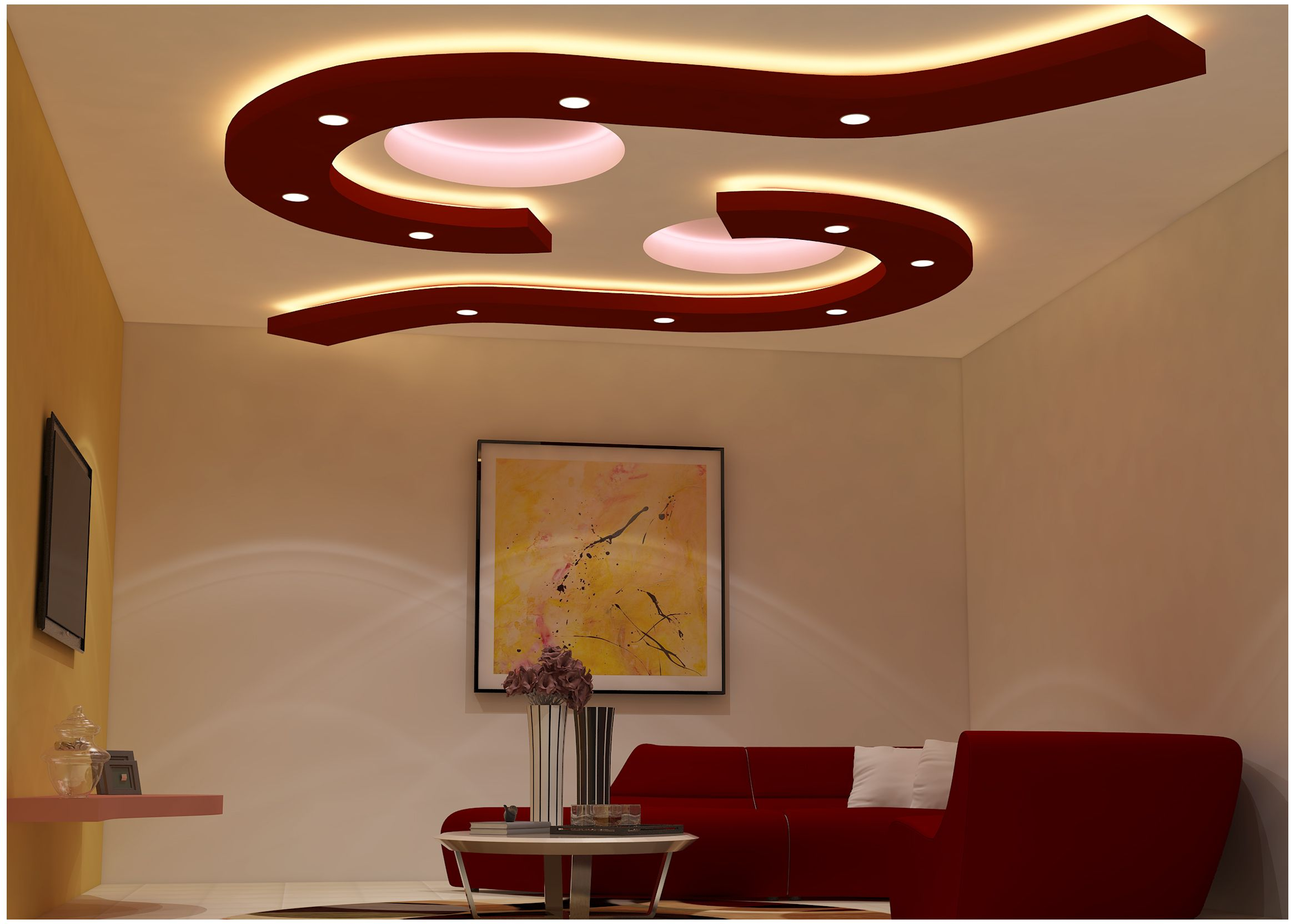 False Ceiling Designs For Living Room | Pop ceiling design ...