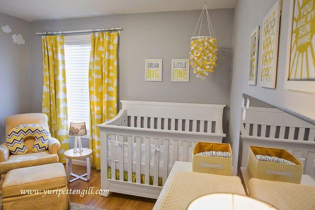 Perfect Home Quarto Bebé Tema Nuvens Amarelo E Cinza Clud Themed Nursery Yellow And Grey