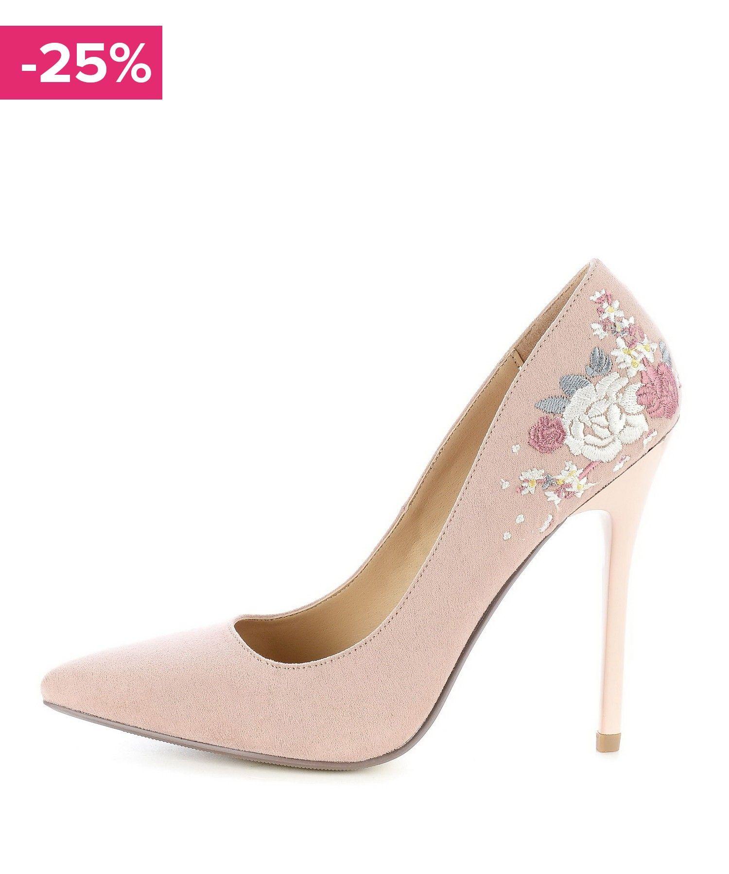 Pudrowe Czolenka Z Haftem W Kwiaty Follonica Heels Shoes Pumps