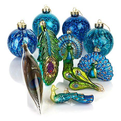 Winter Lane Set of 10 Peacock Glass Ornaments | Peacock ...