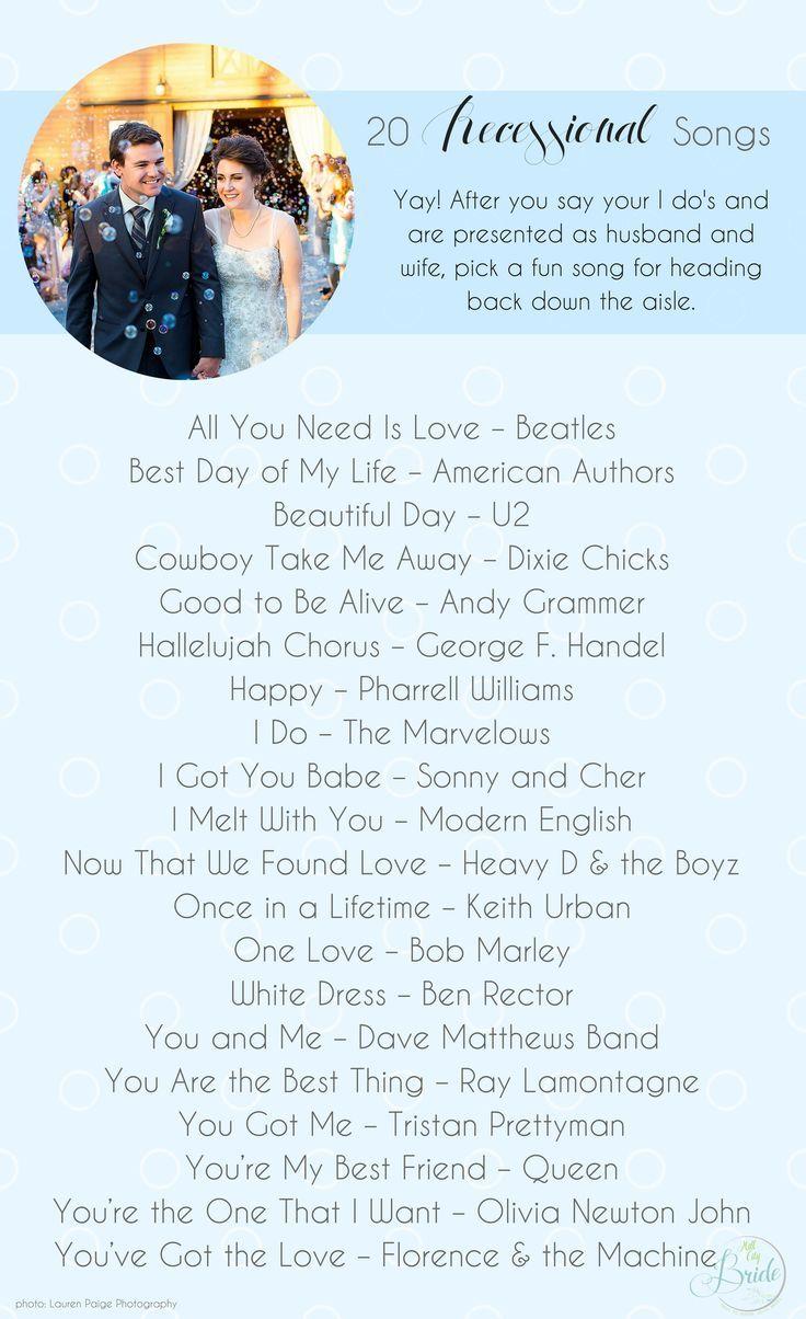 20 Wedding Recessional Songs Wedding Ceremony Songs Recessional Songs Wedding Recessional