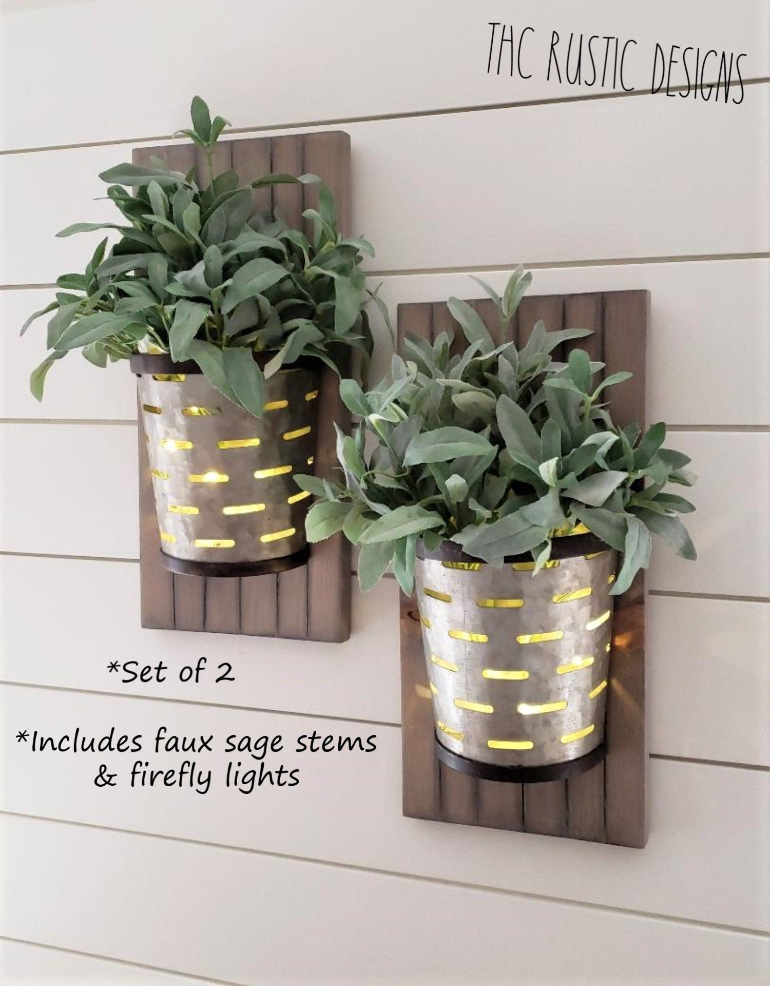 Galvanized Metal Olive Bucket Wall Planter Metal Wall Planter Olive Bucket Metal Wall Sconce Metal Wall Planters Reclaimed Wood Decor Hanging Wall Planters