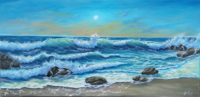Seascape Oil Painting10 20 Marine Art Nauticalwall Art Seaside Landscape Painting Sea Tropical Painting Ocean W Ocean Wall Art Landscape Art Tropical Painting