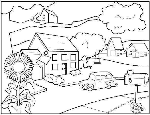 Imprimer Coloriage Dessins Plusieurs Maisons. 28 | Maison | Pinterest