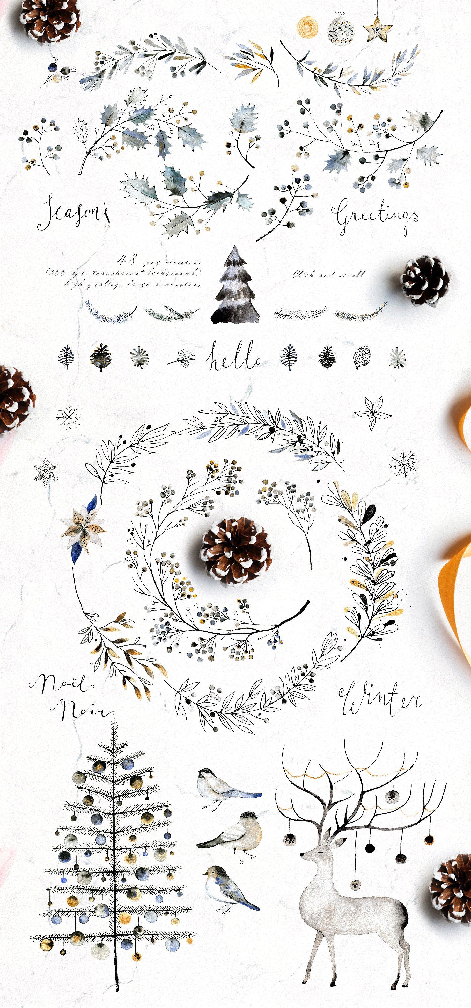 Photo of Noel Noir – Watercolor Christmas Set by Bibela at Creative Market #ad #watercolo …