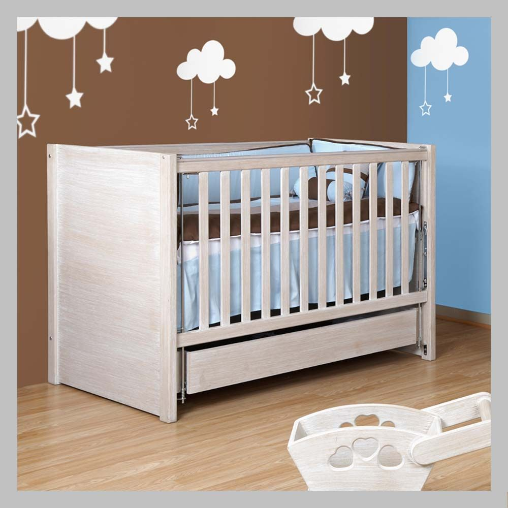Cama cuna recta sin cuadros ccbj 10 cama cuna en madera de for Cunas para bebes de madera