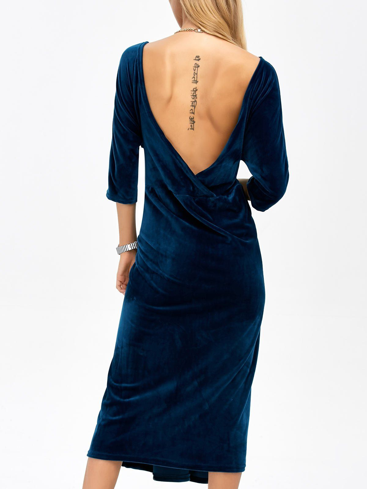 for open back velvet tea length dress deep blue fall dresses