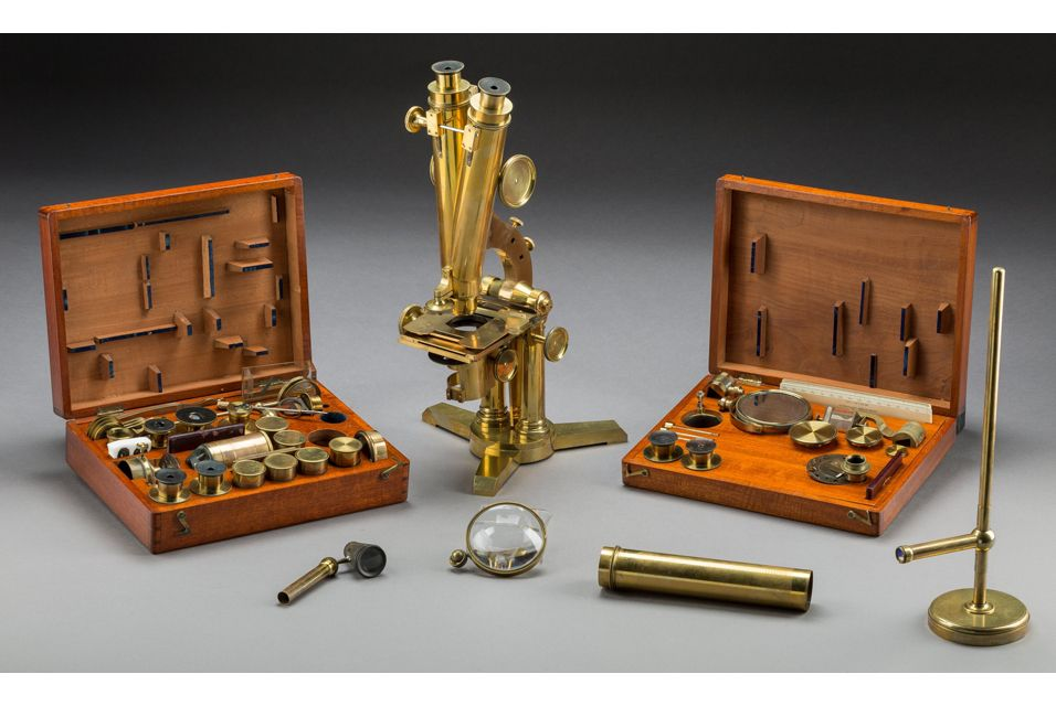 Once-in-a-lifetime collection of microscopes feature in Heritage's Gentleman Collector Auction. A Rare Cased Smith and Beck Binocular Microscope with Thomas Glazebrook Rylands Archive, circa 1858.