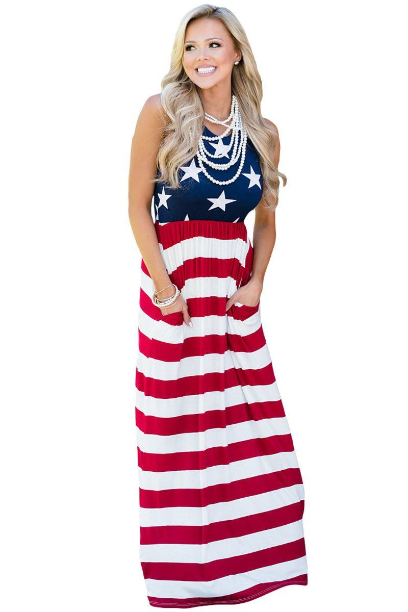 Country Love American Flag Maxi Dress Red And Blue Dress 4th Of July Dresses Flag Dress [ 1200 x 800 Pixel ]
