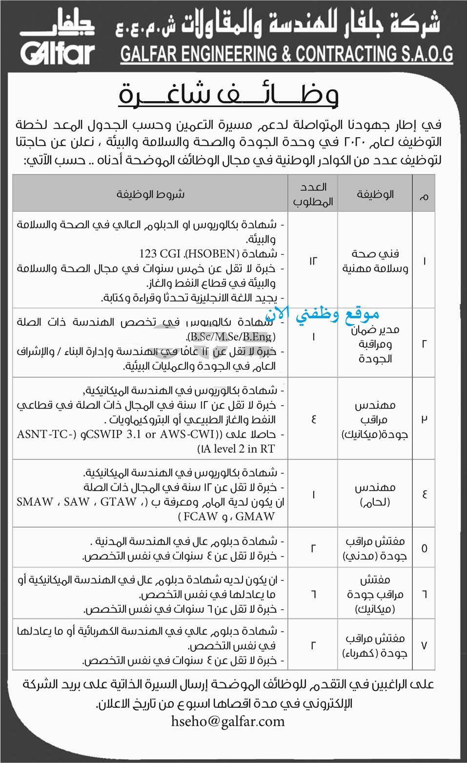 وظائف اليوم في عمان شركة جلفار للهندسة والمقاولات Engineering Contract Olds