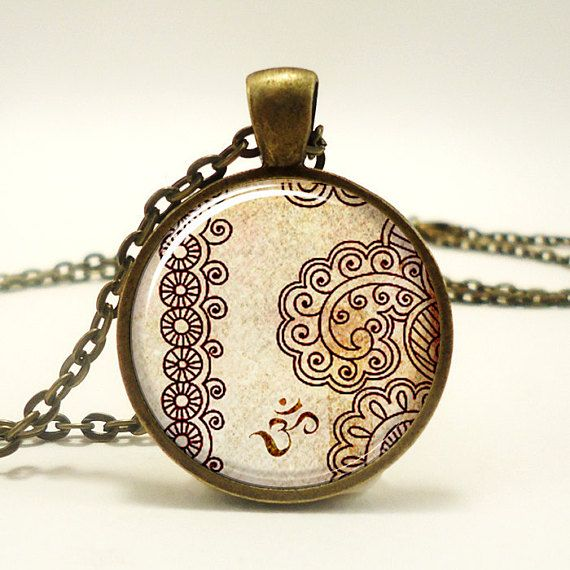 Om necklace henna design yoga jewelry om charm bronze 0448b1in om necklace henna design yoga jewelry om charm jewelry pendant aloadofball Gallery