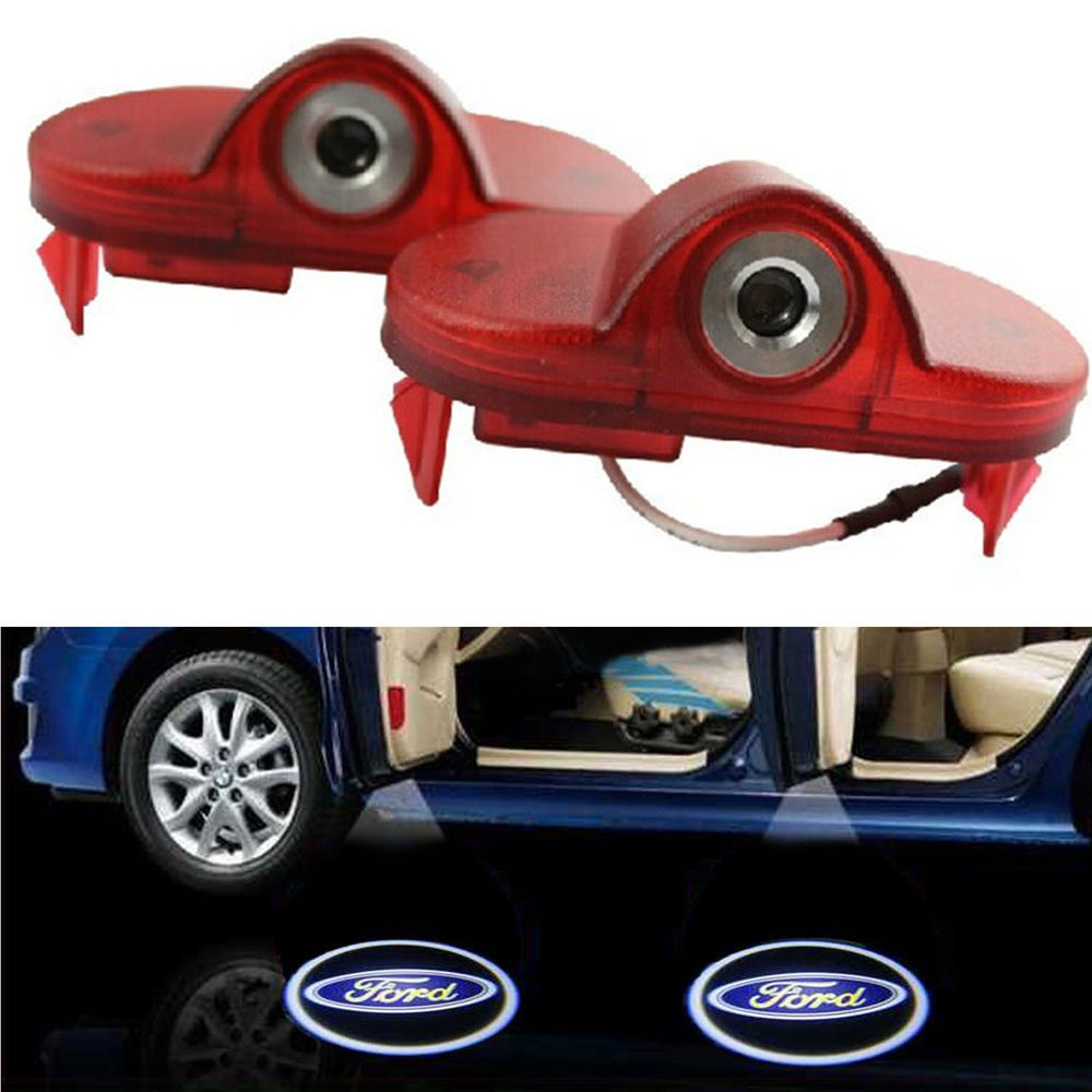 2 x led projector door shadow welcome light for ford fiesta figo fusion focus