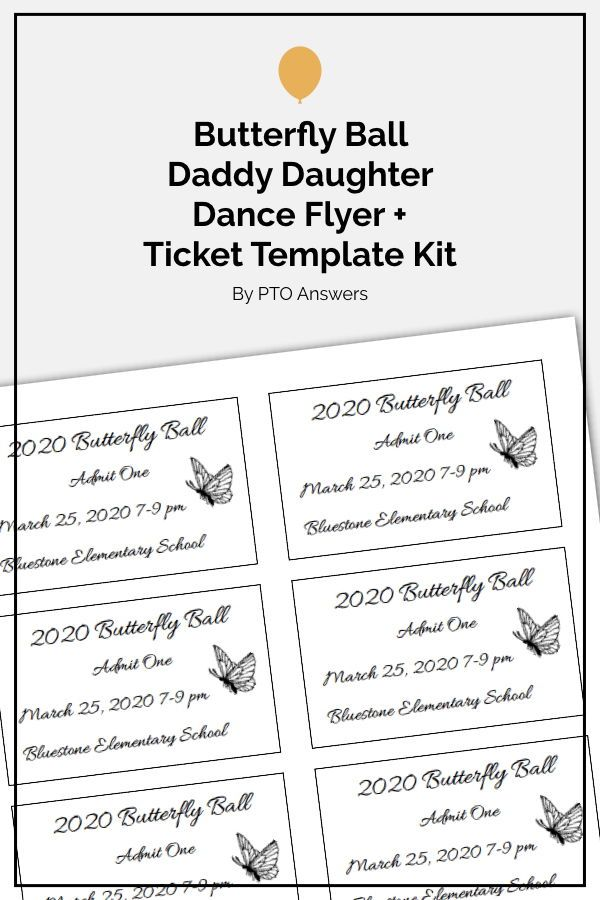 Daddy Daughter Dance Flyer and Ticket Template Set
