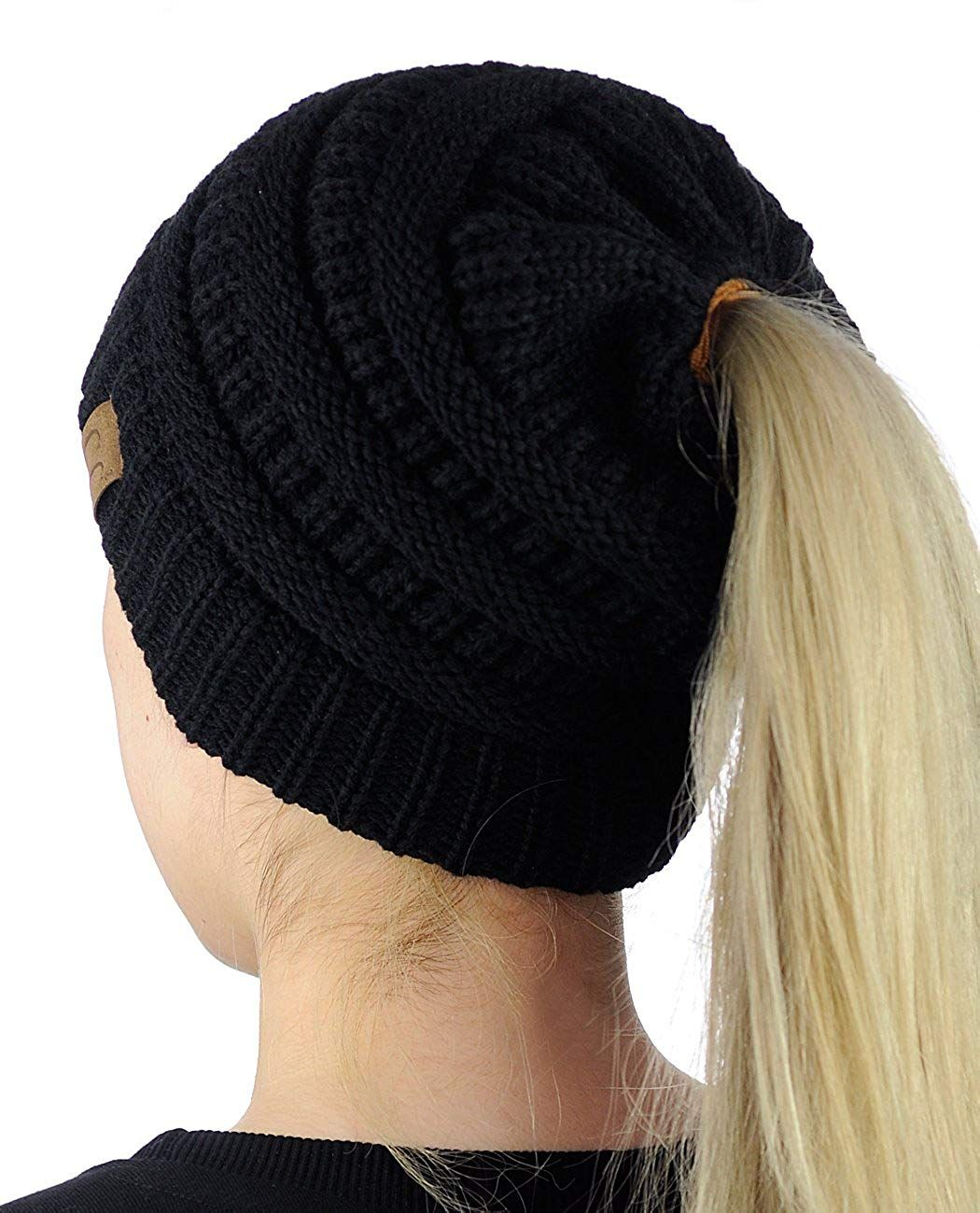 C.C BeanieTail Soft Stretch Cable Knit Messy High Bun Ponytail Beanie Hat f1465bed376f