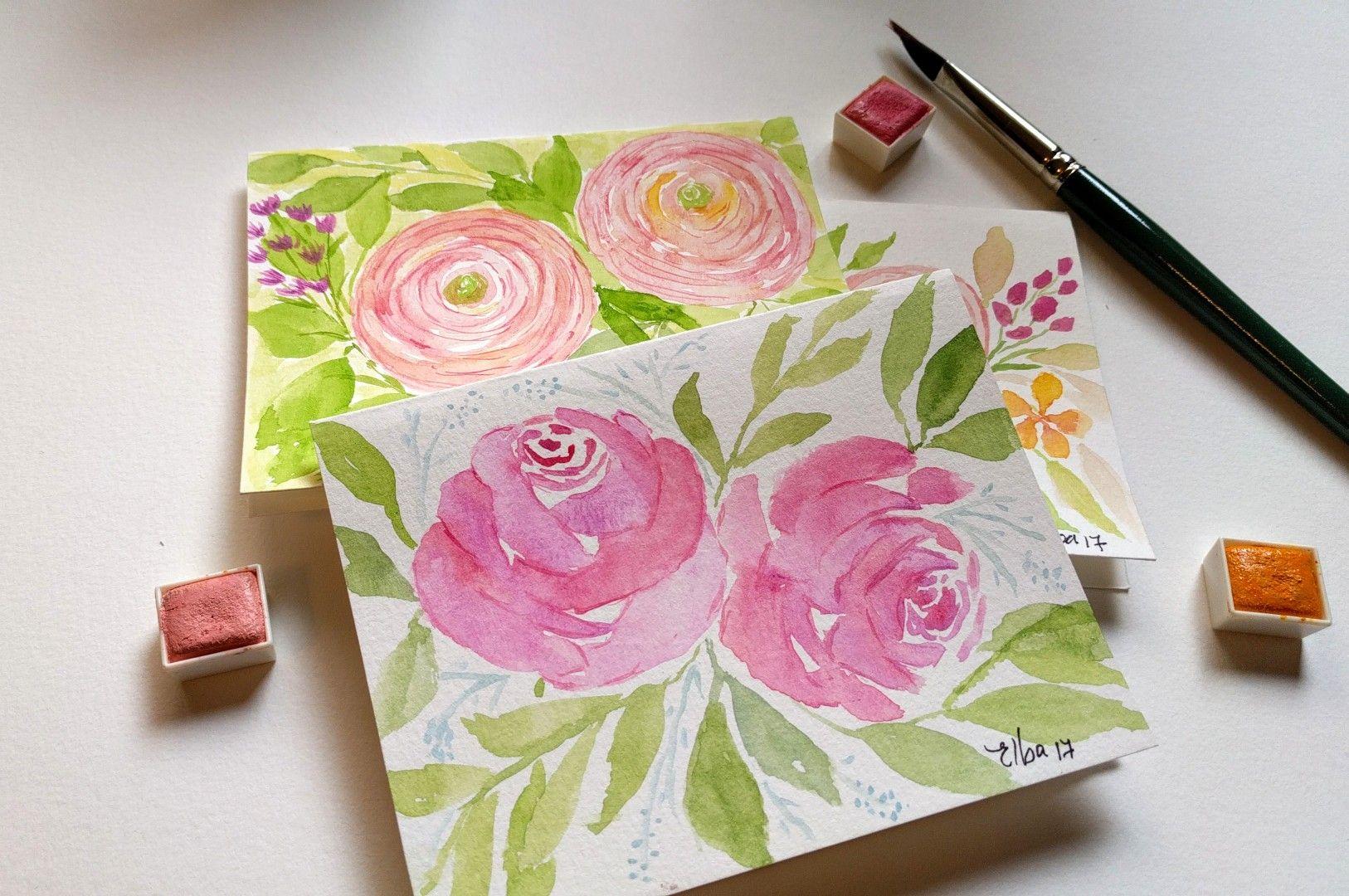 Loose watercolor flowers.  Elbaquarella on Instagram.