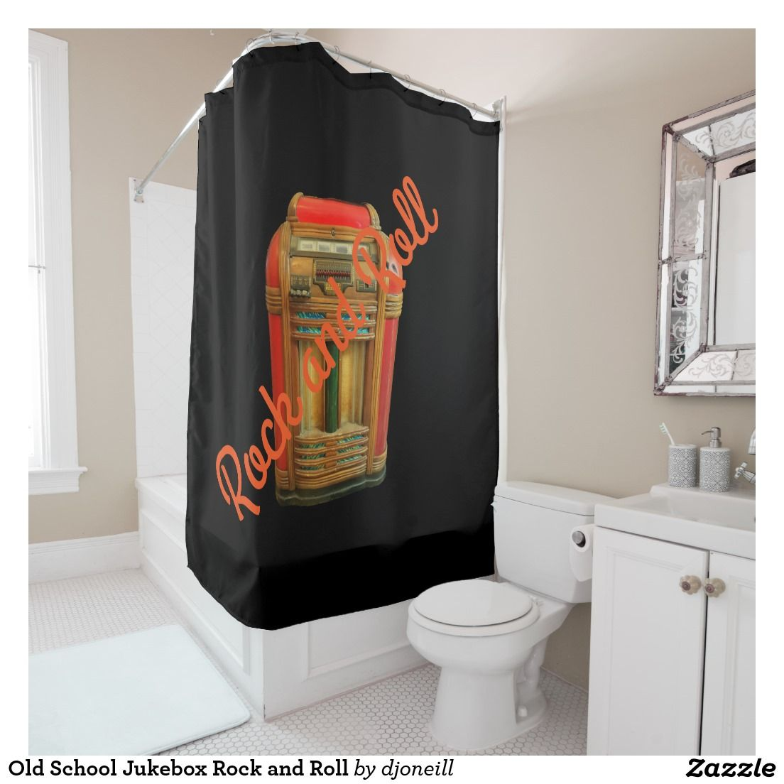 Old School Jukebox Rock And Roll Shower Curtain Antique A Customizable Phrase To Bring Retro 50s Feel Your Bathroom Dcor