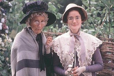 Miss Bates & Mrs. Bates in Emma. aka Sophie Thompson  Phyllida Law  (Emma Thompson's actual Mom and Sister... Mind Blown)
