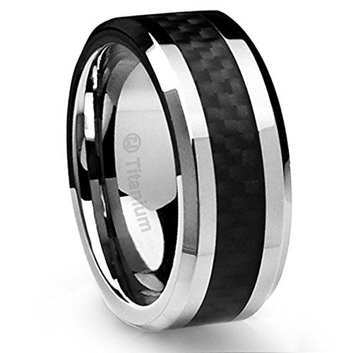 Tungsten Carbide Wedding Ring with White Carbon Fiber Inlay Beveled Edges 10mm Band